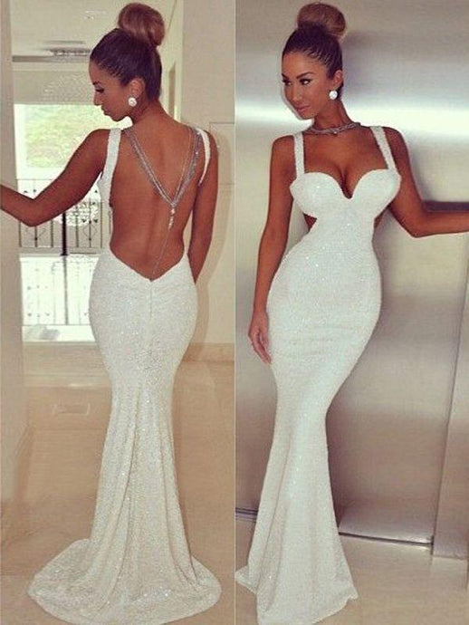 Ivory Sexy Mermaid/Trumpet Spaghetti Straps Backless Long Evening Dresses