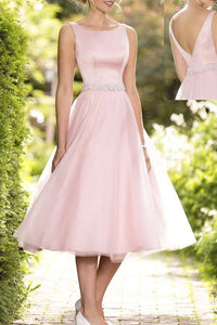 Polished Natural Beaded Sleeveless Bridesmaid Dresses
