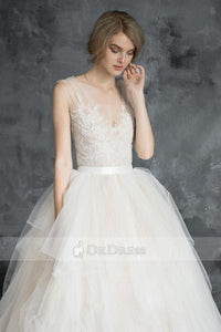 Champagne Soft Tulle & Lace V-Back Wedding Dresses with Illusion Straps