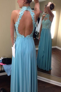 Retro A-line/Princess Halter Lace Appliqued Beading Long Chifffon Prom Dresses