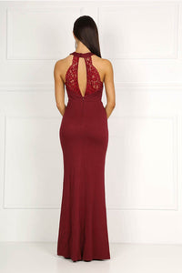 Burgundy High Neck Collar Keyhole Centre Front Slit Prom Dress