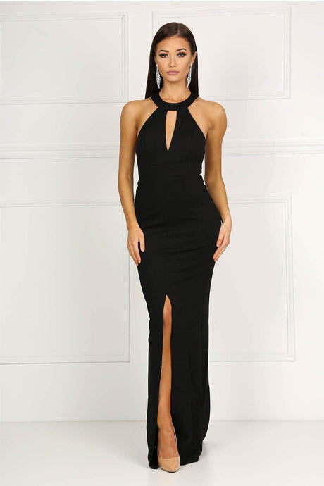 Black High Neck Collar Keyhole Centre Front Slit Prom Dress