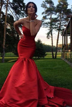 Red Mysterious Chapel Train Trumpet/Mermaid Sleeveless Zipper Prom Dresses