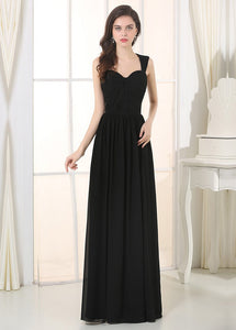 Black Irridescent SleevelessA-line Chiffon Floor-length Bridesmaid Dresses