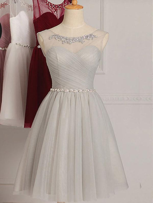 Silver Glowing Natural Knee-length A-line/Princess Bridesmaid Dresses