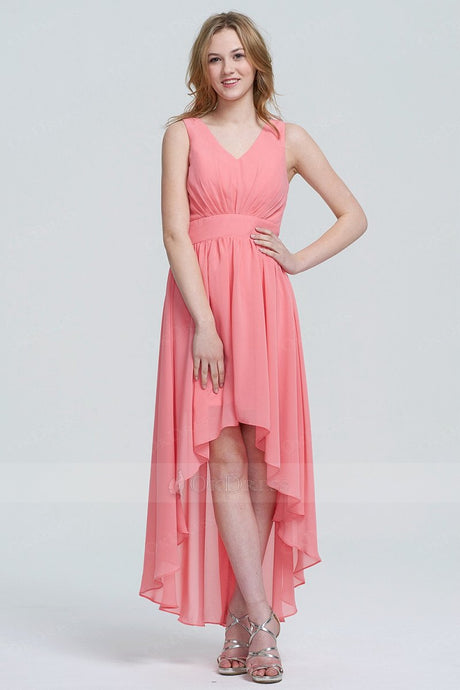 A-line/Princess V-neck Asymmetrical Chiffon Prom Dresses
