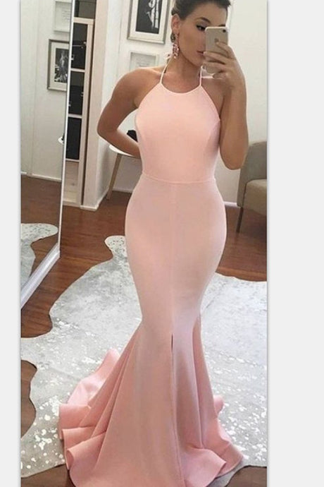 Trumpet/Mermaid Halter Sweep Train Sleeveless Prom Dresses