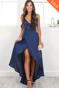 Dark Navy Spaghetti Straps V-neck High Low Maxi Dresses