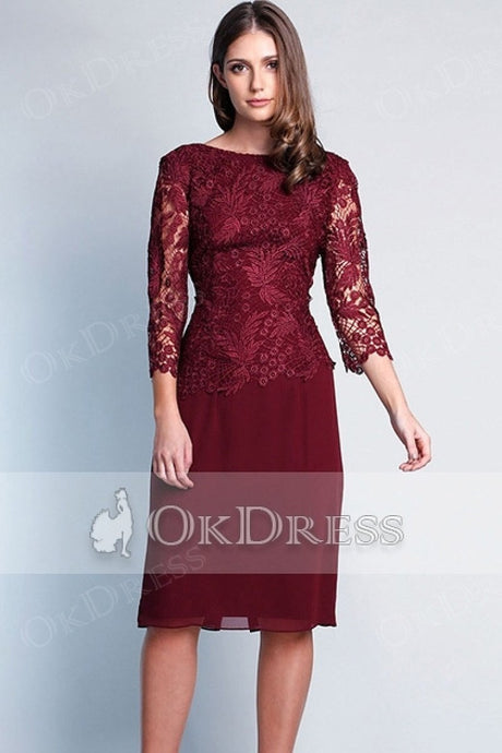 Red heath/Column 3/4 Sleeves Knee-length Mother of the Bride Dresses