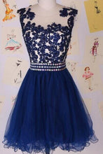 Dark Navy Extravagant Appliqued A-line/Princess Scoop Neck Natural Homecoming Dresses