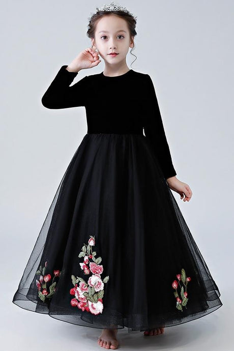 Black Long Sleeves A-line Scoop Floor-length Velvet &Tulle Flower Girl Dress