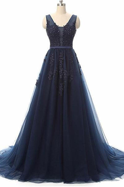 Decent Beading Natural A-line/Princess V-neck Lace Applique Tulle Long Prom Dresses