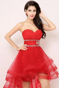 Red Shimmering Natural Lace-up Beading Sleeveless Asymmetrical Prom Dresses