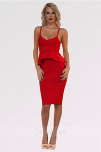 Red Two-Piece knee-length Prom Dress with Gorgeous Peplum Hem