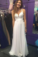 White Affordable Pleated Sleeveless Floor-length Criss-cross Natural Prom Dresses