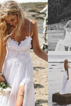 White Alluring A-line/Princess Sleeveless Lace Sweep Train Wedding Dresses