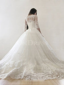 Ivory Lace-up Natural Applique Scoop Wedding Dresses