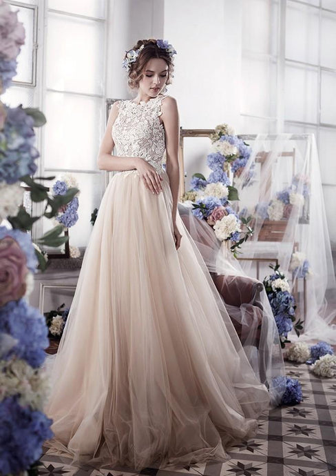 Intellectuality Tulle Zipper Applique Sleeveless Wedding Dresses