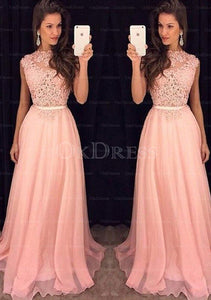 pink Hot Sale Chiffon Long/Floor-length A-line/Princess Sleeveless Prom Dresses