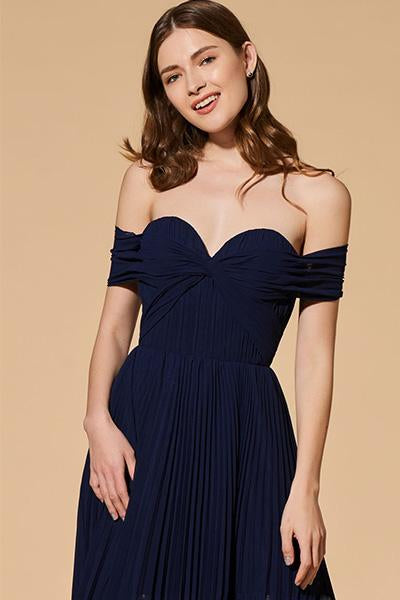 Dark Navy Off-the-shoulder A-line Sweetheart Pleated Long Formal Prom Dresses