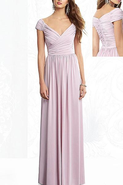 Fantastic V-neck Long/Floor-length Zipper Chiffon Bridesmaid Dresses