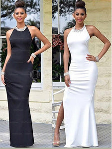 Black Astonishing Sheath/Column Halter Backless Side Split Long Evening Dresses