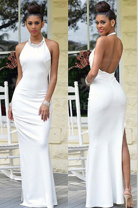 White Astonishing Sheath/Column Halter Backless Side Split Long Evening Dresses