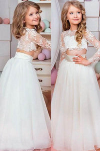 Two-Piece Long Sleeves Organza Flower Girl Dresses