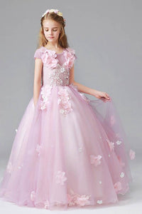 Amazing Ball Gown Scoop Cap Sleeves Tulle Flower Girl Dresses