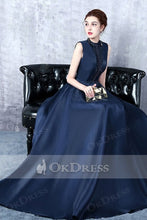 Dark Navy A-line Sleeveless Beading Long Formal Prom Dresses