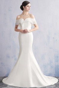 Simple Off-the-shoulder Mermaid Satin Bridal Wedding Dresses