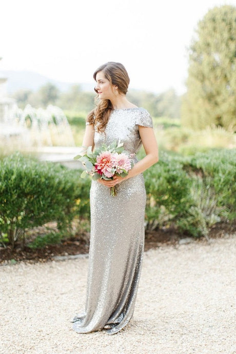 Silver Sheath/Column Cap Sleeves Sequined Zipper Up at Side Long Bridesmaid Dresses