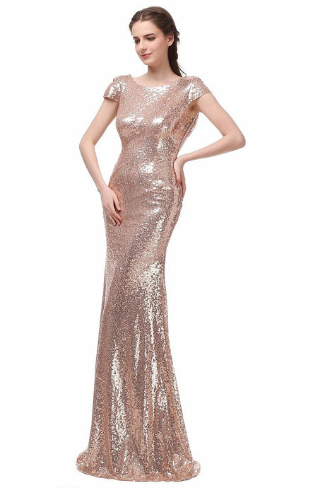 Pink Sheath/Column Cap Sleeves Sequined Zipper Up at Side Long Bridesmaid Dresses