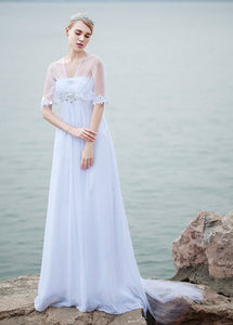 A-line V-neck Empire Beading Chiffon Long Beach Wedding Dresses
