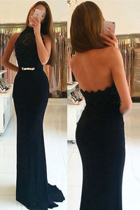 Dark Navy Sweep Train Sheath/Column Halter Sleeveless Prom Dresses
