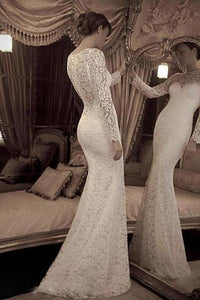 White Distinctive Trumpet/Mermaid Lace Full/Long Sleeve Wedding Dresses