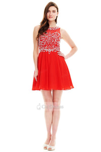 Red OKdress A-line/Princess Jewel-Embellished Illusion Red Short Cocktail Dress