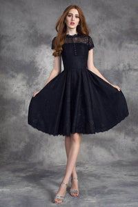 Jewel Neckline Short Sleeves V-Back Lace Cocktail Dresses