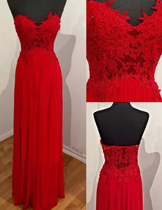 Red Luxury Red A-line Lace Applique Sweetheart Strapless Long Chiffon Prom Dresses