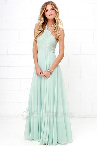 Green A-line Halter Sleeveless Long Chiffon Formal Prom Dresses