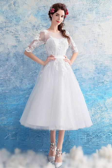 White A-line 1/2 Sleeves Beading Tea-Length Tulle Bridal Wedding Dresses