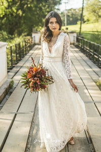 Long Sleeve Boho Style Deep V-Neck Wedding Dresses with Pearls