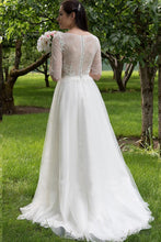 Latest Ivory Organza Scoop A-line/Princess Wedding Dresses