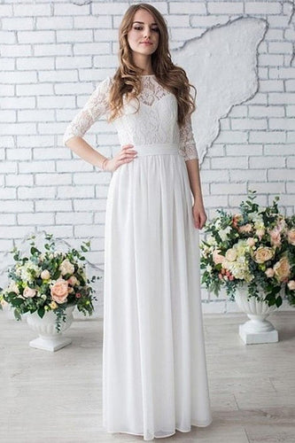 White Zipper Up at Side Lace Floor-length A-line/Princess Scoop Wedding Dresses
