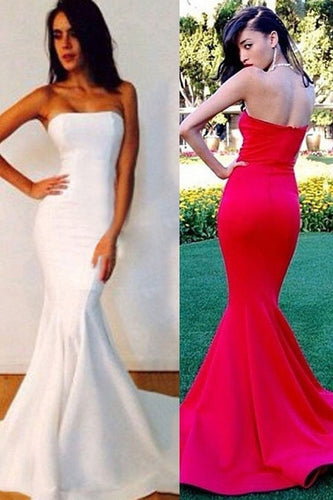 White New Fashion Strapless Trumpet/Mermaid Sleeveless Prom Dresses