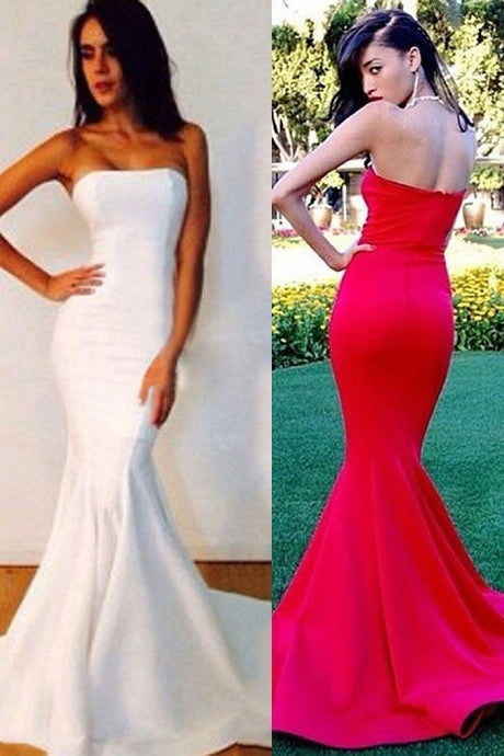 Red New Fashion Strapless Trumpet/Mermaid Sleeveless Prom Dresses