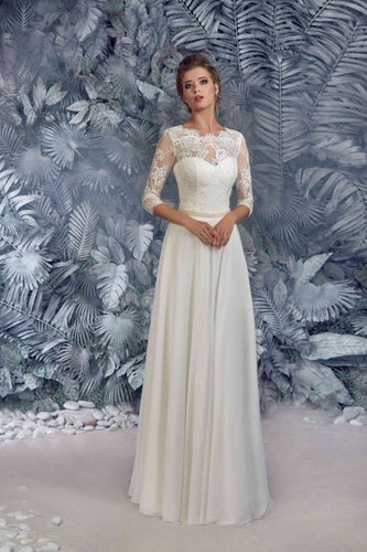 White Junoesque A-line 3/4 Sleeves Lace& Chiffon Wedding Dresses