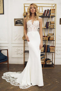 Ivory Sexy Mermaid Lace Bodice Long Satin Wedding Dresses
