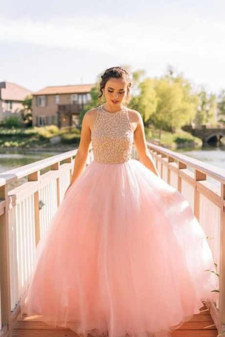 Pink Enchanting Tulle Sleeveless Beading Prom Dresses