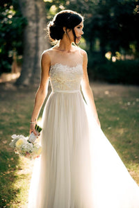 Ivory Popular Applique A-line/Princess Sleeveless Floor-length Natural Wedding Dresses